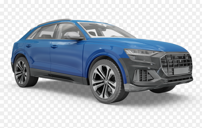Blue car on transparent PNG