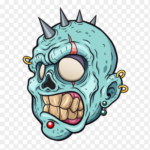 Blue cartoon head human skull on transparent background PNG
