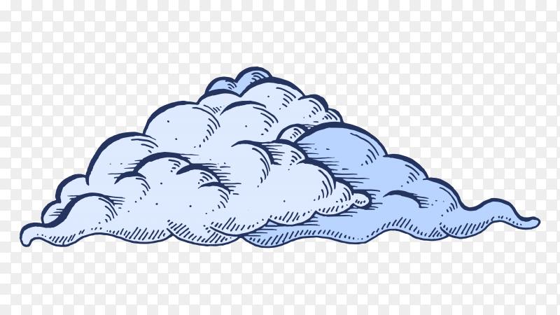 Blue cloud on transparent backgroun PNG