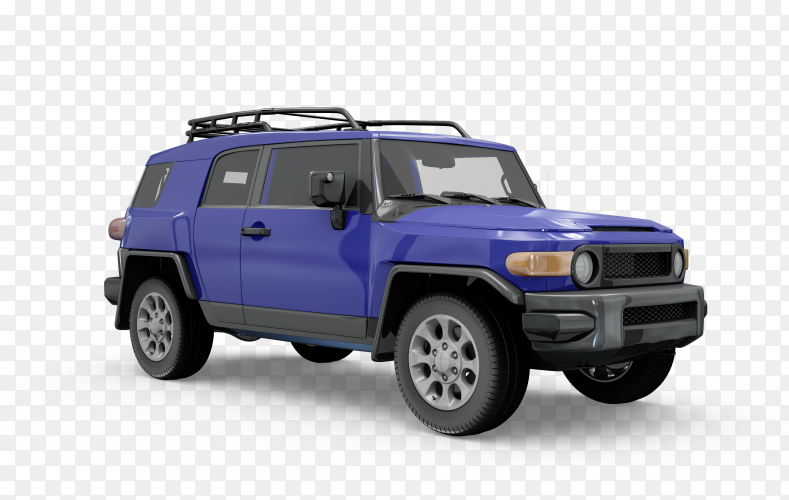 Blue jeep car on transparent background PNG