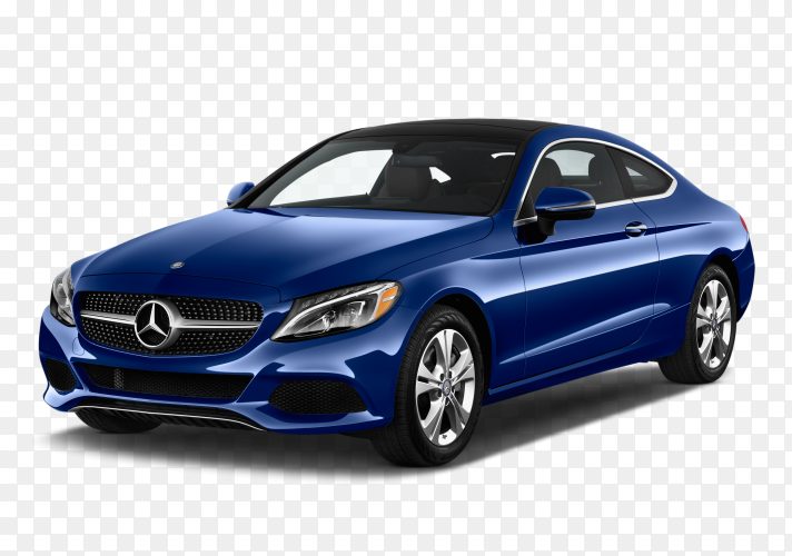 Blue mercedes car on transparent background PNG