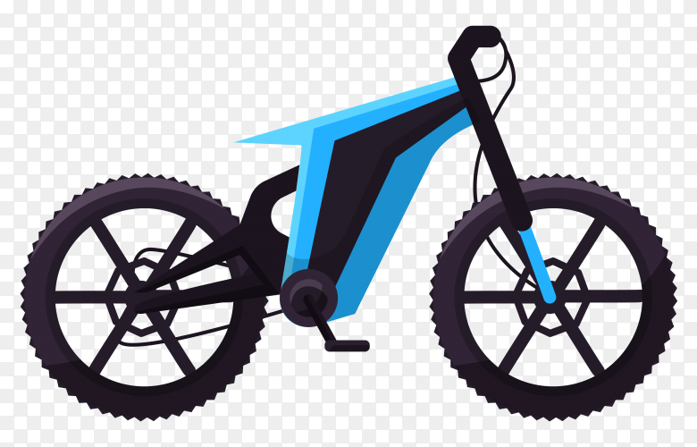 Blue sport bicycle on transparent background PNG