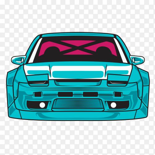 Blue sport car illustration on transparent background PNG