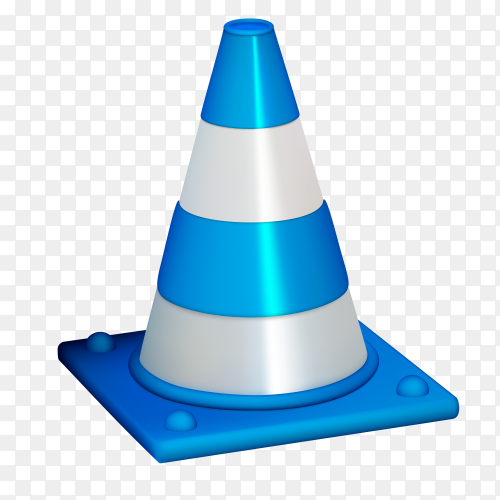 Blue traffic cone isolated on transparent background PNG