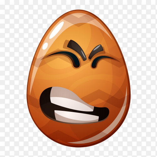 Brown egg with emoji face on transparent background PNG