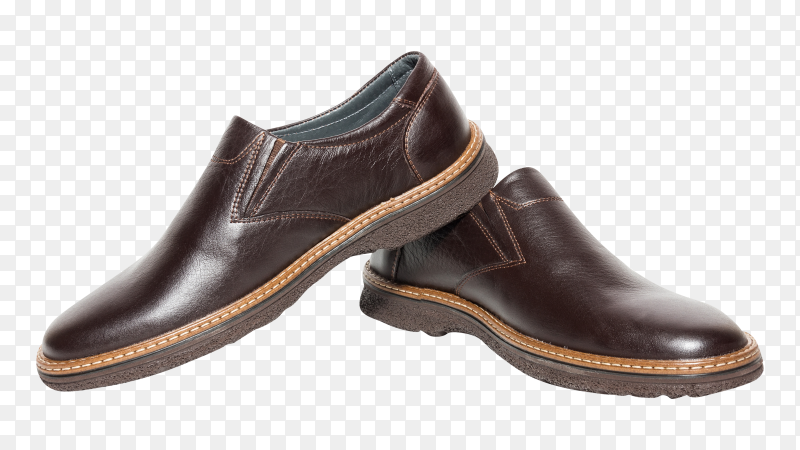 Brown mens shoes on transparent background PNG