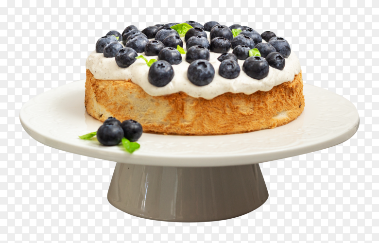 Cake with whipped cream blueberries on transparent background PNG
