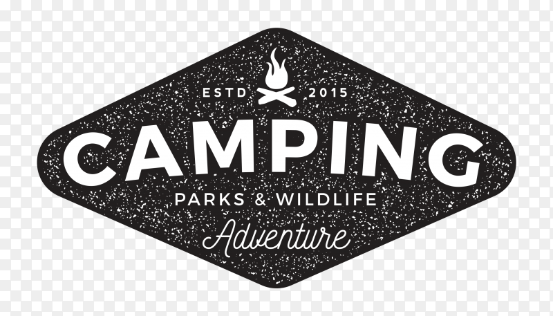 Camping logo design on transparent background PNG