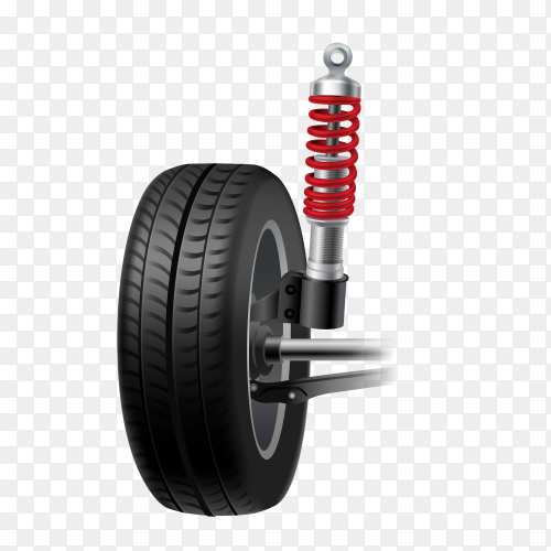Car suspension realistic icon with wheel tire and shock absorber premuim vector PNG