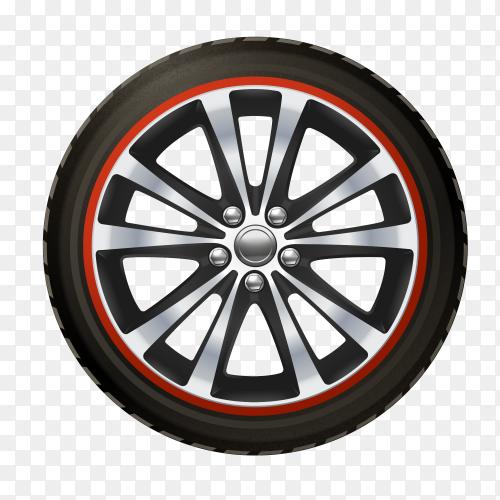 Car wheel on transparent background PNG