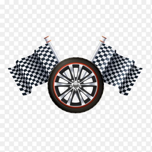 Car wheel with racing flags on transparent background PNG
