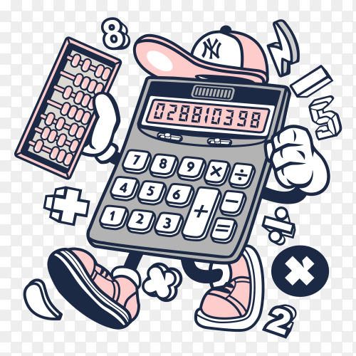 Cartoon Calculator on transparent background PNG