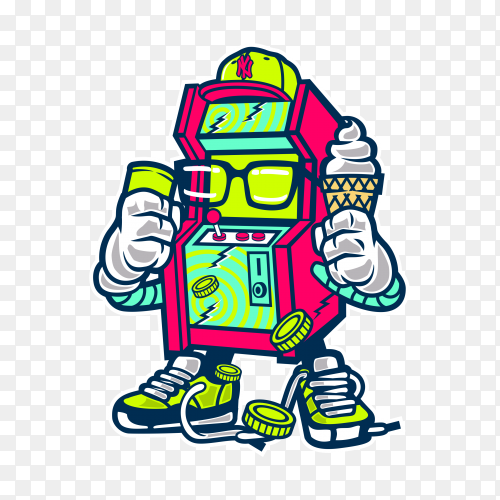 Cartoon Machine Game on transparent background PNG