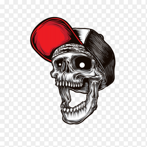 Cartoon Smile skull wearing red hat on transparent background PNG