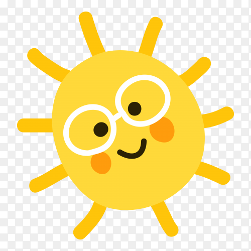 Cartoon Sun Wearing Sunglasses on transparent background PNG