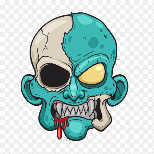 Cartoon Zombie head on transparent background PNG