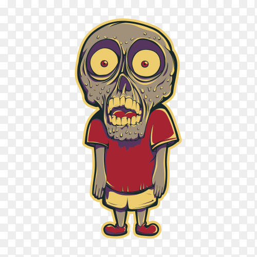 Cartoon Zombie illustration on transparent background PNG