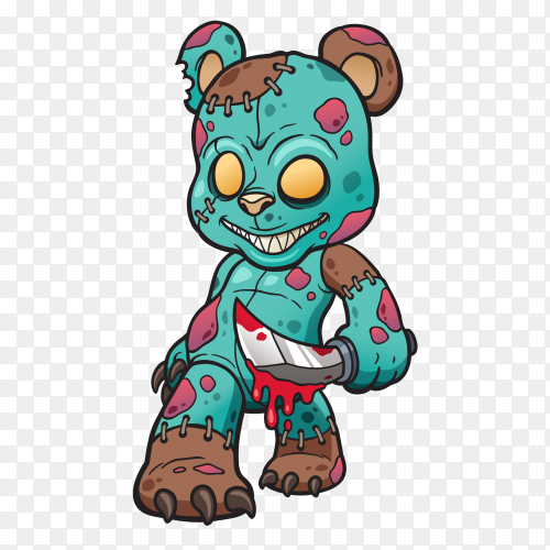 Cartoon Zombie teddy bear Clipart PNG