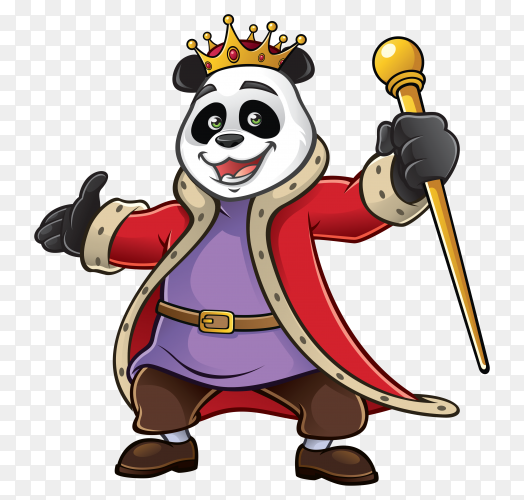 Cartoon Panda wearing golden crown Clipart PNG