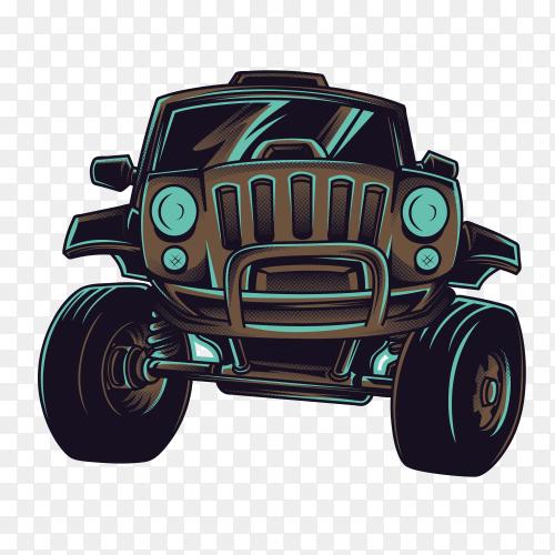 Cartoon big car on transparent background PNG