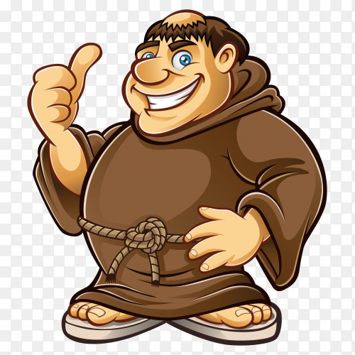 Cartoon big man on transparent background PNG