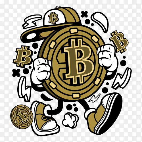 Cartoon bitcoin on transparent background PNG