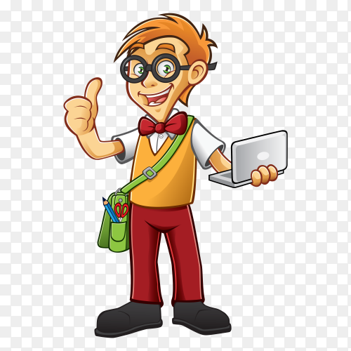 Cartoon boy holding labtob Premium vector PNG