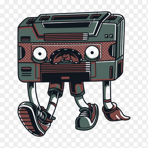 Cartoon cassette tape on transparent background PNG