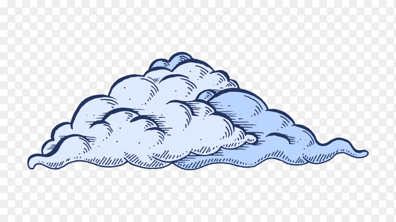 Cartoon cloud Isolated on transparent background PNG