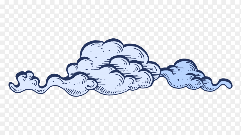 Cartoon cloud on transparent background PNG