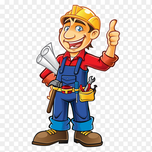 Cartoon construction worker Premium vector PNG