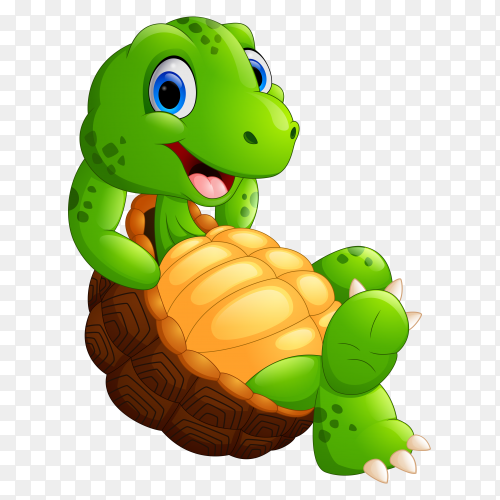 Cartoon funny turtle isolated on transparent background PNG