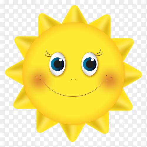 Cartoon happy sun on transparent background PNG