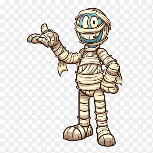 Cartoon mummy on transparent background PNG
