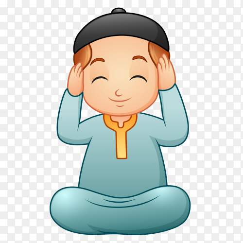Cartoon muslim man praying to god Clipart PNG