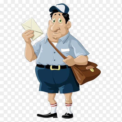 Cartoon postman on transparent background PNG