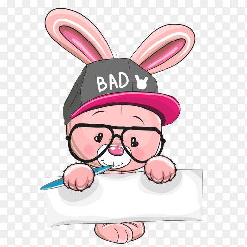 Cartoon rabbit holding white frame clipart PNG