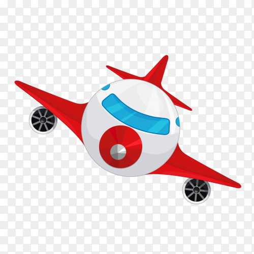 Cartoon red plane on transparent background PNG