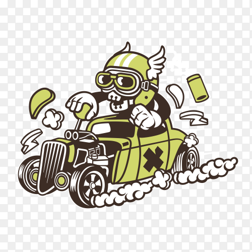 Cartoon skull drive car on transparent background PNG