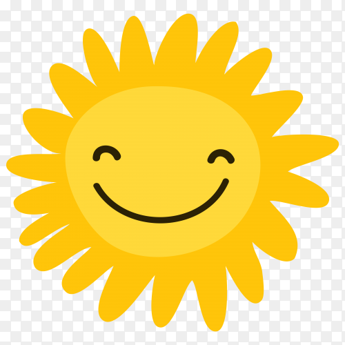 Cartoon smiling sun on transparent background PNG