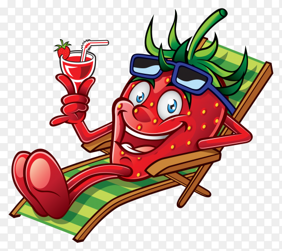 Cartoon strawberry drink juice on Beach Chair on transparent background PNG
