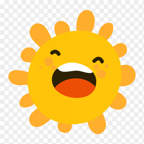 Cartoon sun happy on transparent background PNG