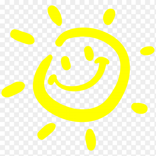 Cartoon sun smile Premium vector PNG