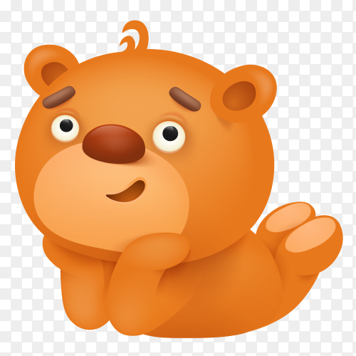 Cartoon teddy bear sad face Premiun vector PNG