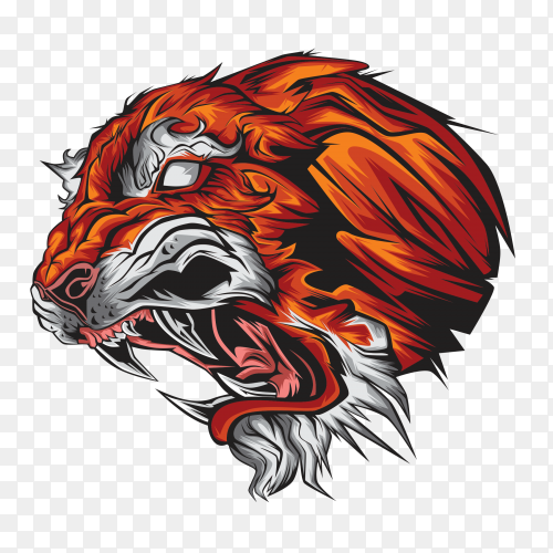 Cartoon tiger on transparent background PNG