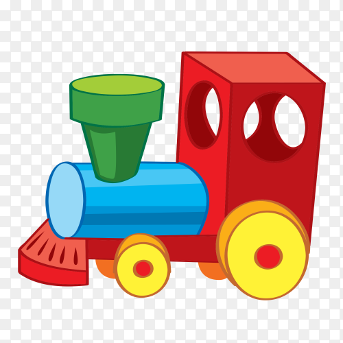 Cartoon train design on transparent background PNG