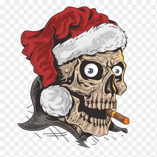 Christmas santa claus skull on transparent background PNG