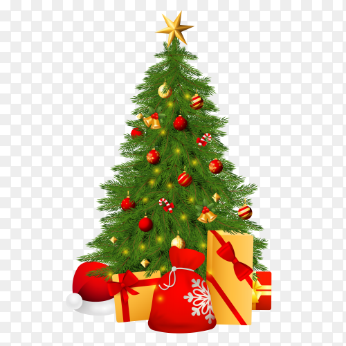 Christmas tree and decoration  on transparent background PNG
