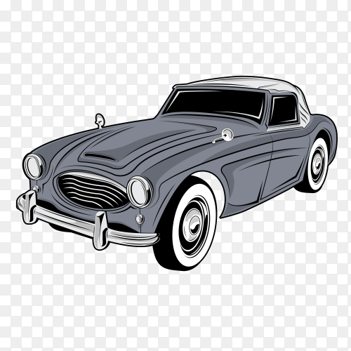 Classic old car on transparent background PNG