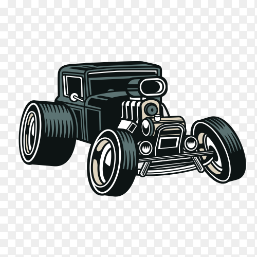 Classic racing car on transparent background PNG